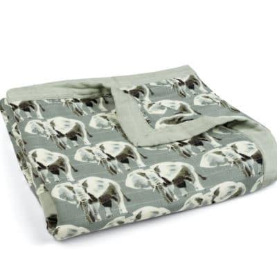 Grey Elephant Muslin Big Lovey Blanket by Milkbarn Kids