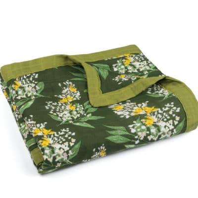 Green Floral Muslin Big Lovey Blanket by Milkbarn Kids
