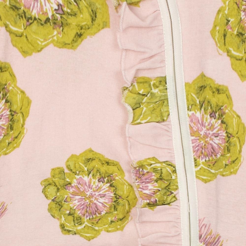 Artichoke Organic Cotton Front Detail Ruffle Zipper Footed Romper by Milkbarn Kids