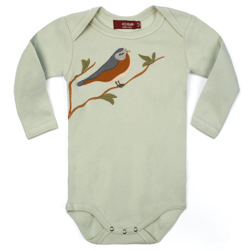 Bird Applique Organic Cotton Long Sleeve One Piece by Milkbarn Kids