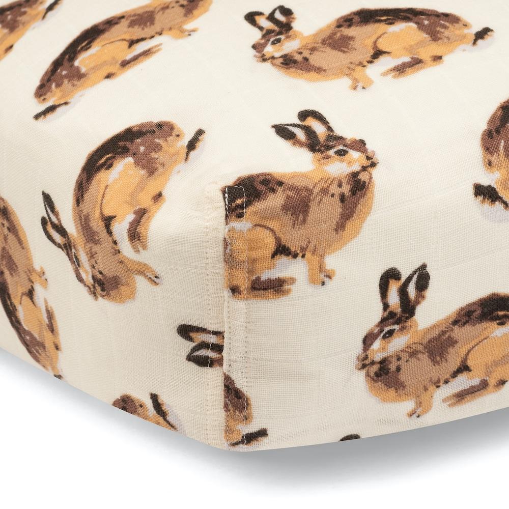 Bunny Organic Cotton Muslin Fitted Crib Sheet by Milkbarn Kids