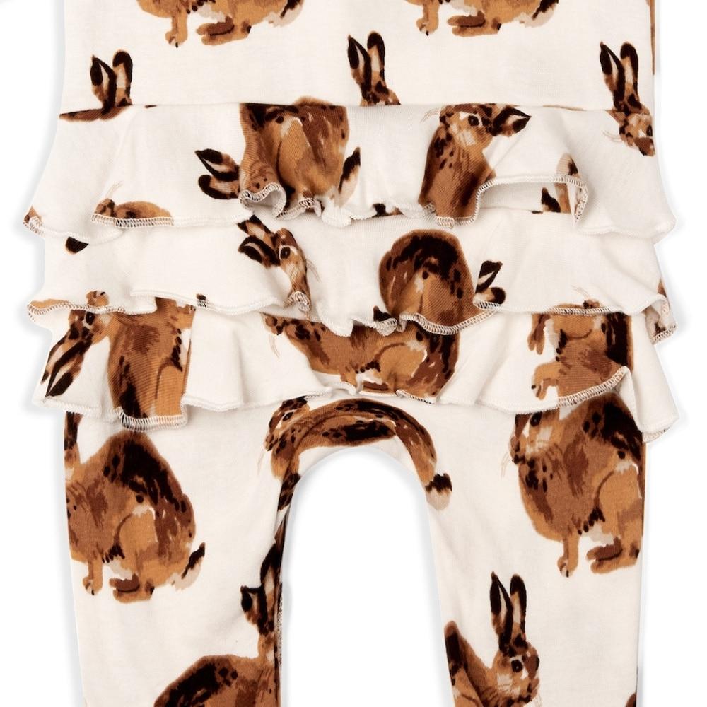 Bunny Organic Cotton Rear Detail Ruffle Zipper Footed Romper by Milkbarn Kids