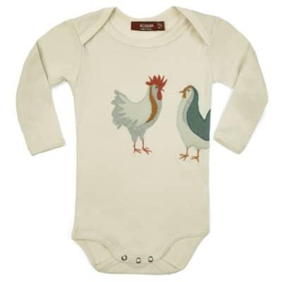 Chicken Applique Organic Cotton Long Sleeve One Piece by Milkbarn Kids