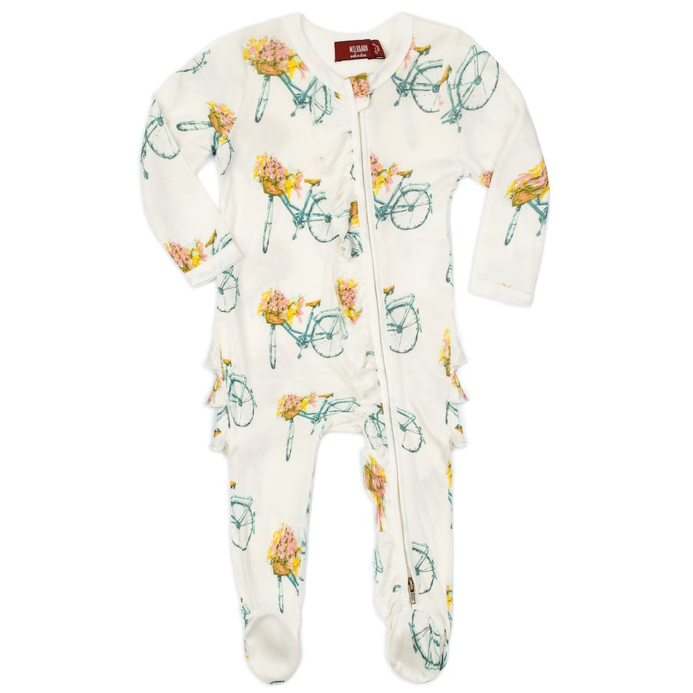 Floral Bicycle Bamboo Ruffle Zipper Footed Romper by Milkbarn Kids