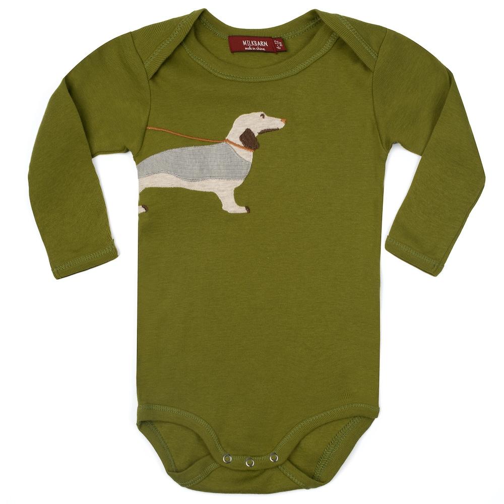 Green Dog Applique Organic Cotton Long Sleeve One Piece by Milkbarn Kids
