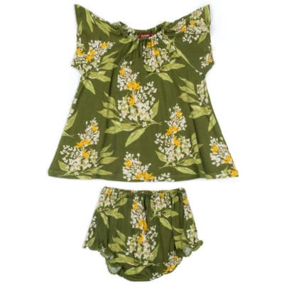 Green Floral Bamboo Dress and Bloomer Set by Milkbarn Kids
