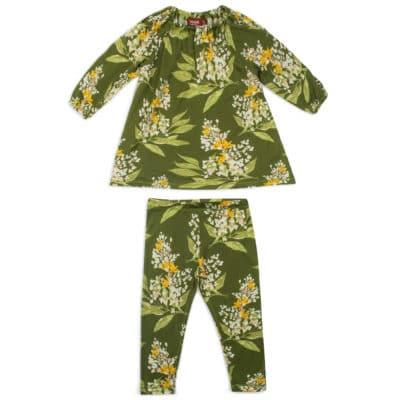 Green Floral Bamboo Dress and Legging Set by Milkbarn Kids