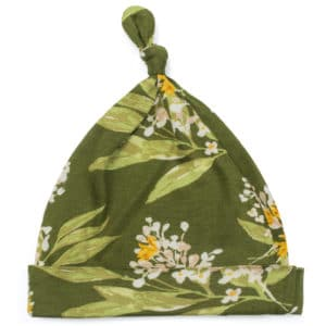 Green Floral Bamboo Knotted Hat by Milkbarn Kids