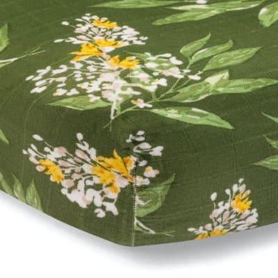 Green Floral Bamboo Muslin Fitted Crib Sheet by Milkbarn Kids
