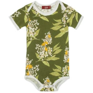 Green Floral Bamboo One Piece by Milkbarn Kids