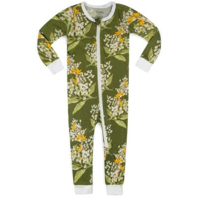 Green Floral Bamboo Zipper Pajama by Milkbarn Kids