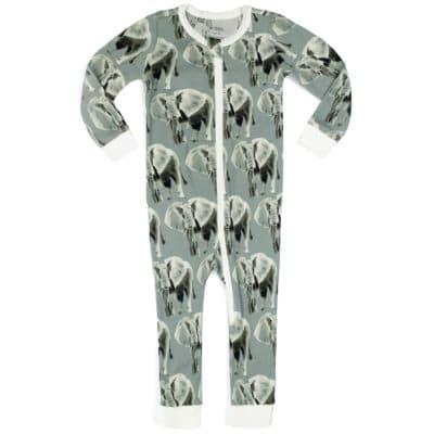 Grey Elephant Organic Cotton Zipper Pajama by Milkbarn Kids