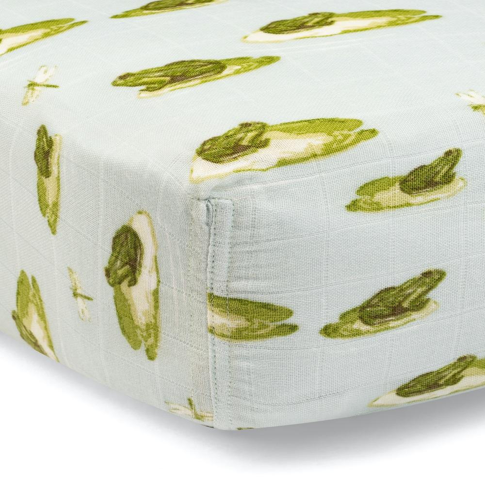 Leapfrog Bamboo Muslin Fitted Crib Sheet by Milkbarn Kids