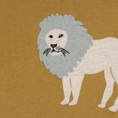 Lion Applique Long Sleeve One Piece Detail by Milkbarn Kids