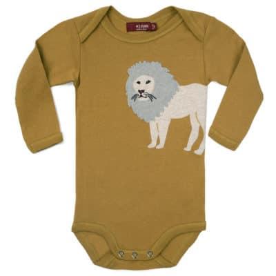 Lion Applique Organic Cotton Long Sleeve One Piece by Milkbarn Kids