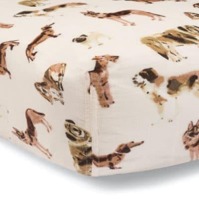Natural Dog Organic Cotton Muslin Fitted Crib Sheet by Milkbarn Kids