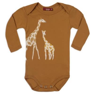 Orange Giraffe Applique Organic Cotton Long Sleeve One Piece by Milkbarn Kids