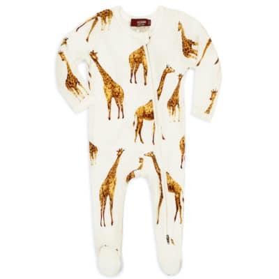 Orange Giraffe Bamboo Zipper Footed Romper by Milkbarn Kids