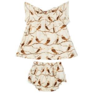 Owl Bamboo Dress and Bloomer Set by Milkbarn Kids