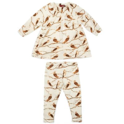 Owl Bamboo Dress and Legging Set by Milkbarn Kids