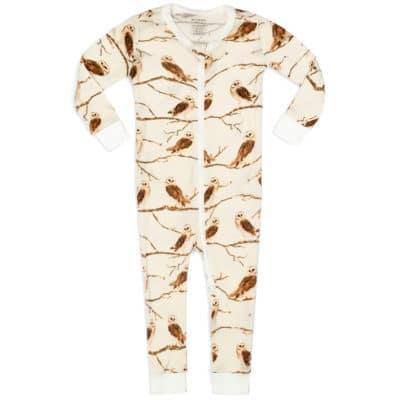 Owl Bamboo Zipper Pajama by Milkbarn Kids