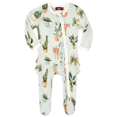Potted Plant Bamboo Ruffle Zipper Footed Romper by Milkbarn Kids