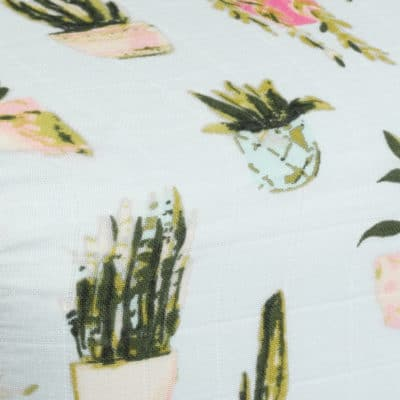 Potted Plants Muslin Fitted Sheets by Milkbarn Kids