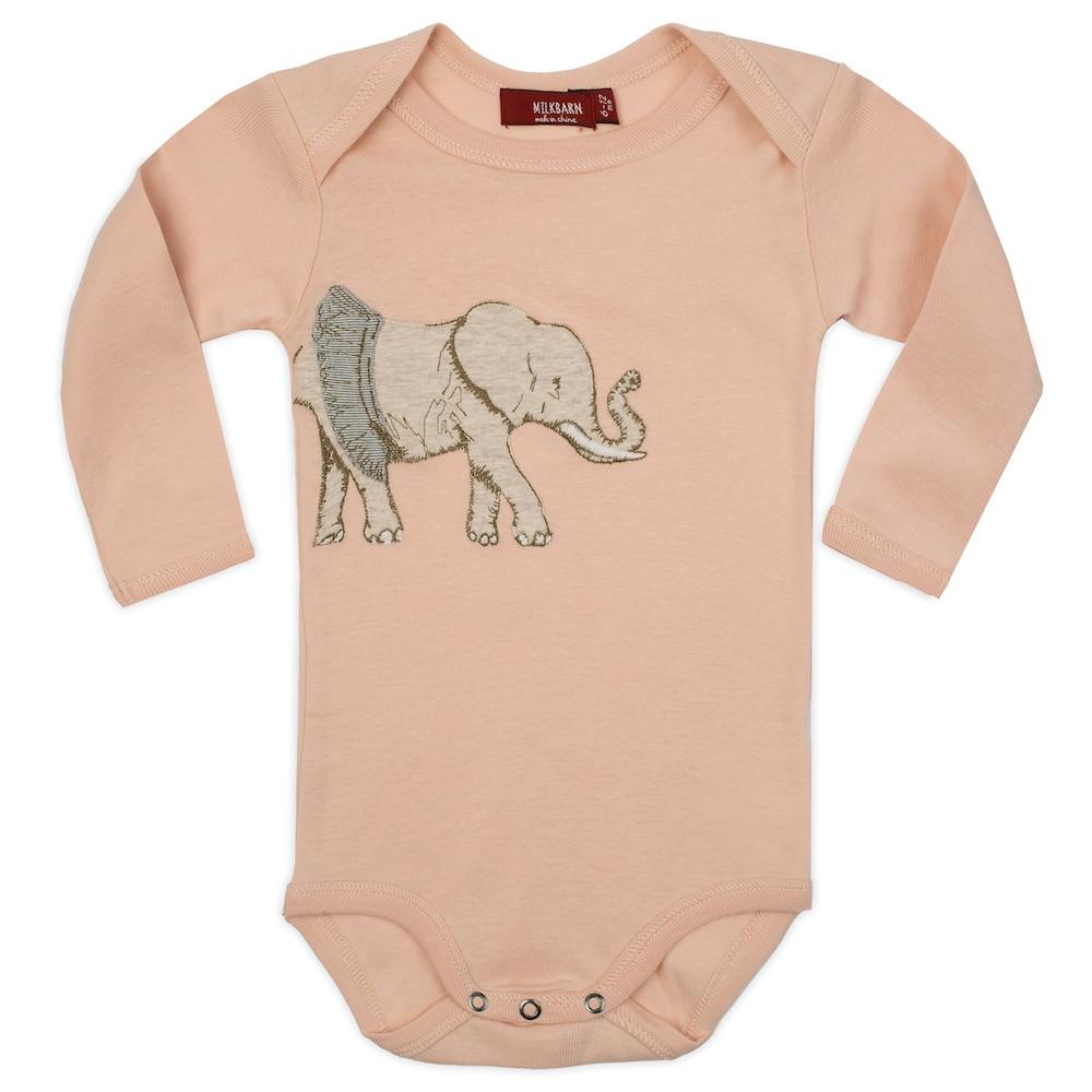 Tutu Elephant Applique Organic Cotton Long Sleeve One Piece by Milkbarn Kids