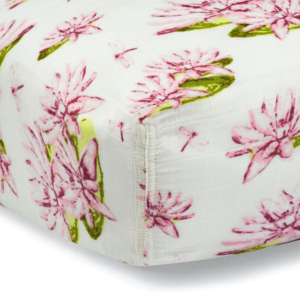 Water Lily Organic Cotton Muslin Fitted Crib Sheet by Milkbarn Kids